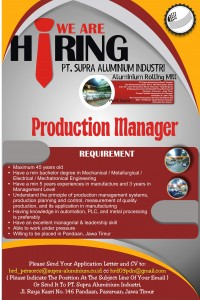 Production Manager Juli 2017