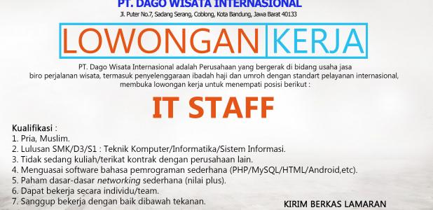 Lowongan Pekerjaan PT. Dago Wisata Internasional
