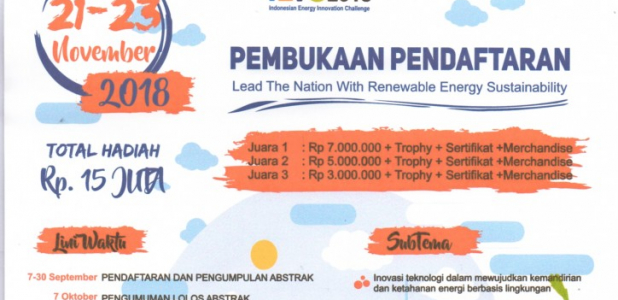 Lomba IEIC (Indonesian Energy Innovation Challenge) 2018