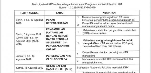 Prosedur Pendaftaran Matakuliah / KRS Online dan Sajian Matakuliah Semester Gasal 2019/2020