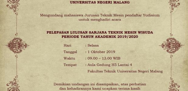 Pelepasa Mahasiswa Pada Yudisium periode akademik 2019/2020