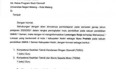 Job Vacancies at SMK Negeri 1 Semen, Kediri